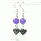 Purple earrings, with heart charm