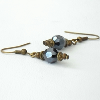 Handmade jet crystal earrings, vintage style