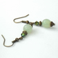 Green jade bronze earrings - vintage style