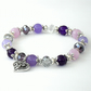 Purple and lavender handmade bracelet with heart charm