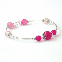 Pink gemstone and crystal bangle bracelet