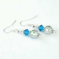 Handmade blue crystal earrings