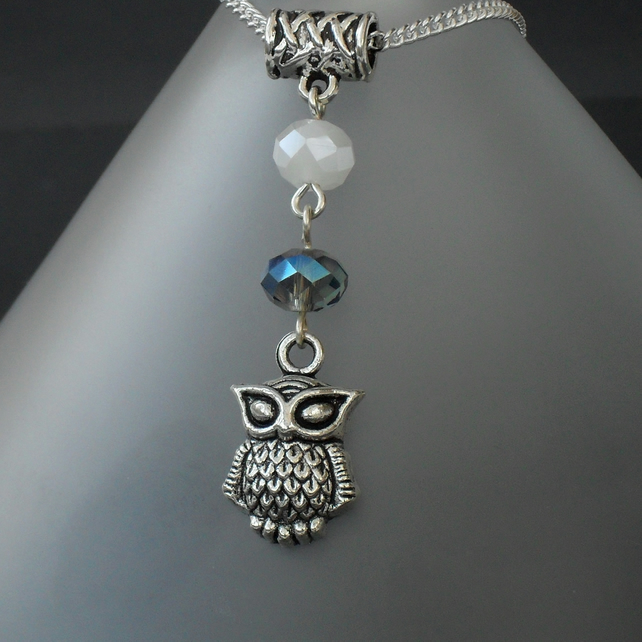 Owl necklace, with blue and white crystals