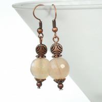 Handmade earrings - with delicate peach agate and copper