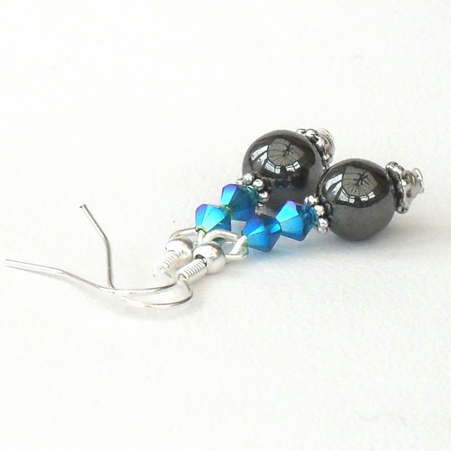 Handmade hematite earrings with crystals by Swarovski®