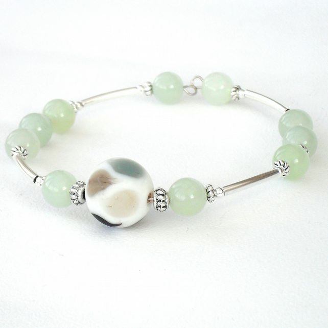 SALE: Bangle bracelet, handmade with green jade gemstones