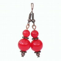 Red jade handmade earrings, with copper and red jade gemstone