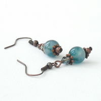 Handmade copper earrings - teal green jade and copper earrings