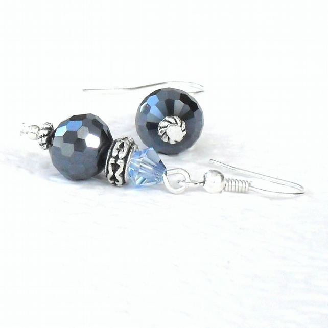 Handmade jet blue crystal earrings