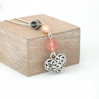 Heart charm necklace, with tourmaline & peach pearl