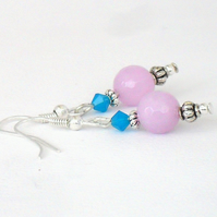Unique handmade earrings, lavender jade & blue Swarovski® crystal elements