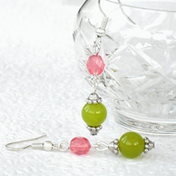 Peridot and crystal handmade earrings
