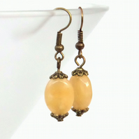Handmade honey quartz bronze earrings - vintage style