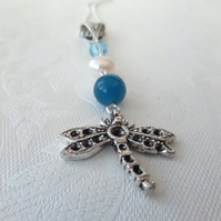 Dragonfly charm necklace, with pearl, gemstone & crystal by Swarovski®