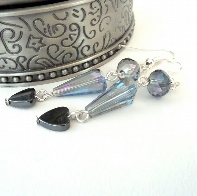 SALE: Handmade dangly crystal earrings with hematite heart
