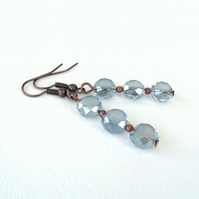 Handmade delicate blue crystal coin dangly copper earrings