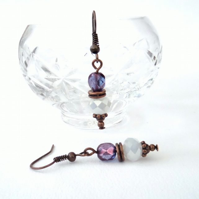SALE: Handmade copper earrings with white and lilac crystal