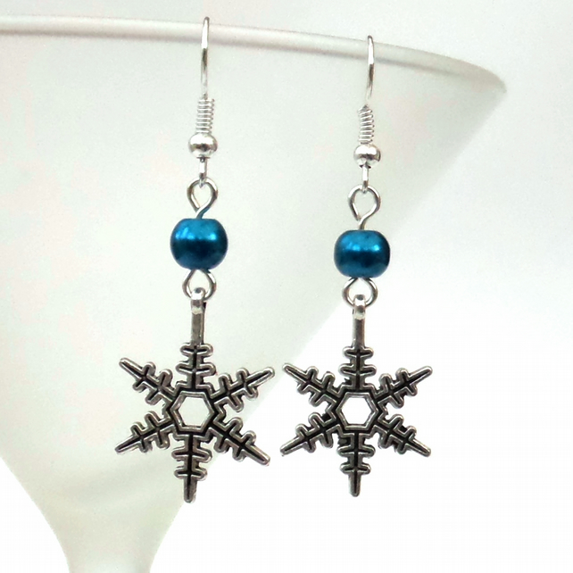 Christmas earrings, with snowflake charm