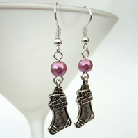 Christmas earrings, with stocking charm