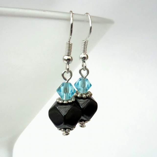 Handmade earrings with hematite and blue crystal