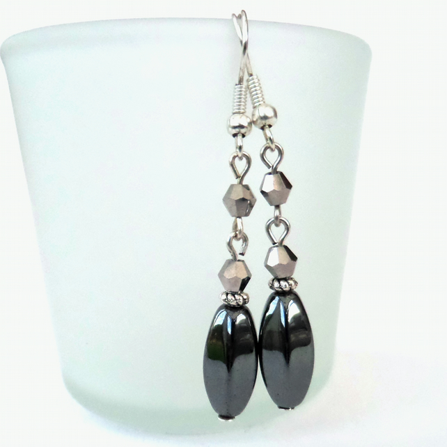 SALE: Hematite and silver crystal earrings