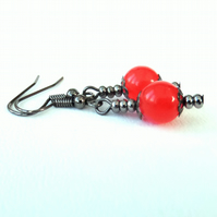 Red jade handmade earrings