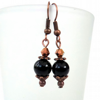 Black onyx and half gold crystal copper handmade earrings