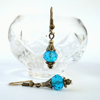 Handmade blue crystal bronze earrings - vintage style