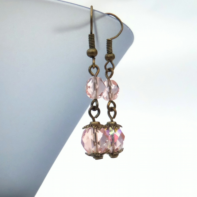 Handmade peachy-pink crystal and bronze earrings, vintage style