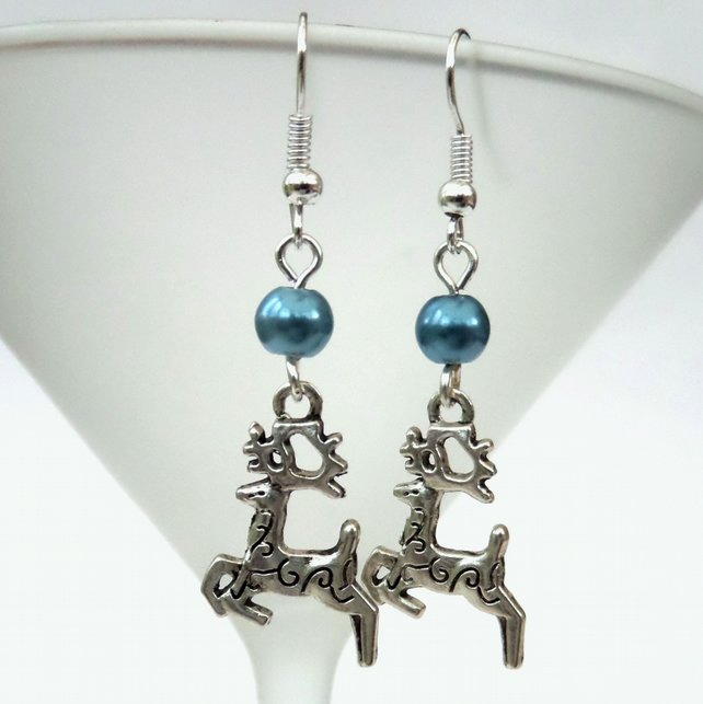 Novelty Christmas earrings, with reindeer charms, other colours available