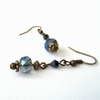 SALE: Handmade crystal & bronze earrings - vintage style