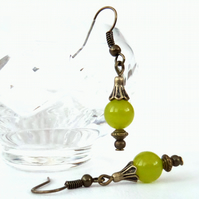 Handmade peridot bronze earrings, vintage style