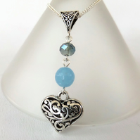 Heart charm necklace, with blue quartz and crystal