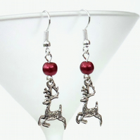 Christmas earrings, with reindeer charms