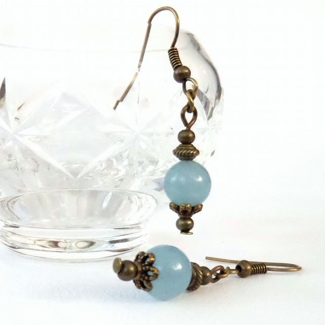 Blue jade earrings, vintage style earrings