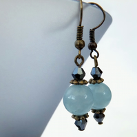 Blue jade and crystal earrings, vintage style blue earrings