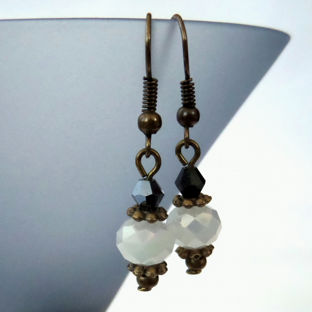 SALE: Handmade earrings, vintage style with white & jet black crystal