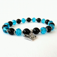 Handmade gemstone & crystal bracelet, black onyx & blue crystal