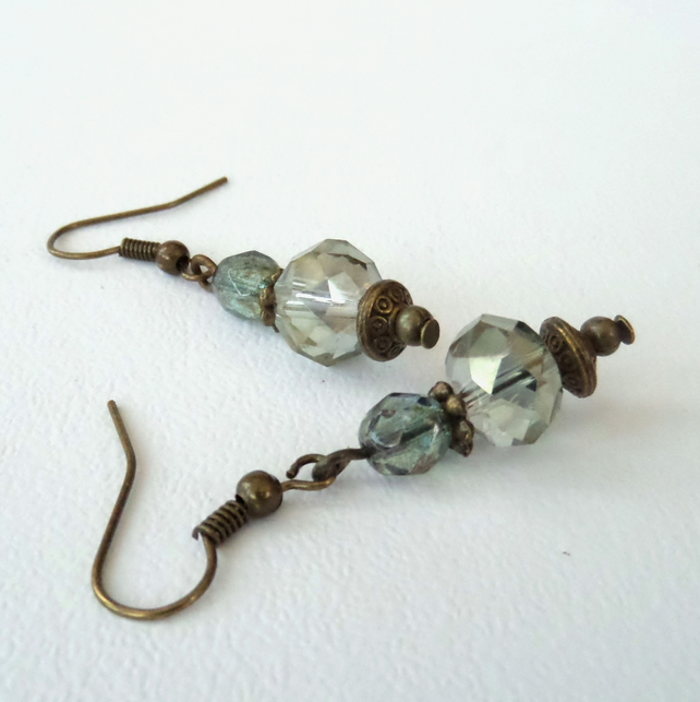 Green crystal & bronze earrings, vintage style