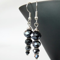 SALE: Handmade jet crystal earrings
