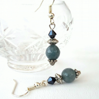 Handmade earrings, with faceted blue aquamarine & jet crystal