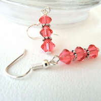 Handmade crystal earrings, with  tangerine crystals by Swarovski®