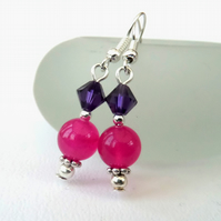 Rose pink & purple dangly earrings, with crystal by Swarovski®