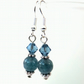 Blue aquamarine & crystal earrings, with Swarovski crystals