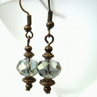 Vintage style earrings, with olive green crystal and bronze