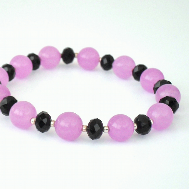 SALE: Black crystal and lilac alexandrite stretchy bracelet