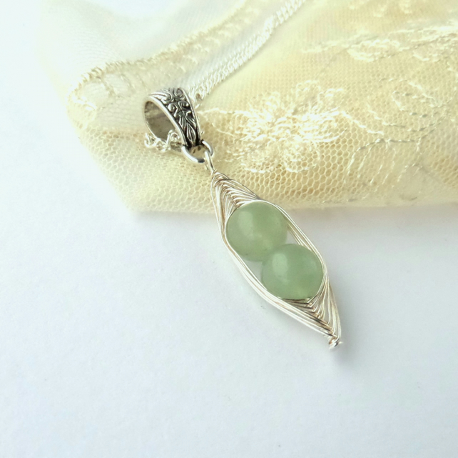 Green aventurine 'Peas in a Pod' necklace - other colours and sizes available