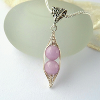 Lavender jade Peas in a Pod' necklace - other colours and sizes available