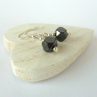 Handmade hematite cube earrings