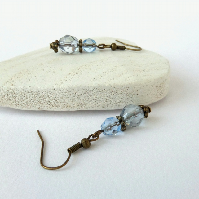 SALE: Blue crystal and bronze earrings